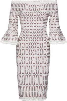Herve Leger Off-the-shoulder Jacquard-knit Dress