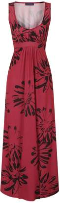 Next Womens HotSquash Red With Black Flowers Empire Line Maxi Dress