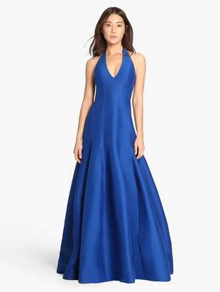 Halston Silk Faille Tulip Skirt Gown