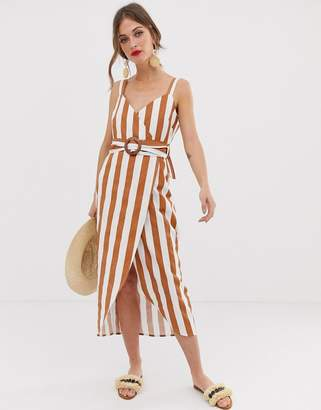 Asos Design DESIGN wrap maxi dress with buckle belt in stripe