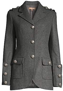 Michael Kors Women's Military Stretch Wool Button Jacket