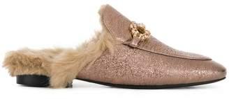 Emanuela Caruso faux fur-lined embellished mules