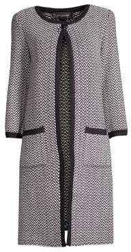 St. John Mod Herringbone Knit Coat
