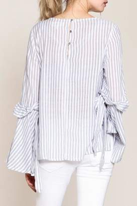 Listicle Striped Bell-Sleeve Top