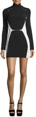 Thierry Mugler Pierced Colorblock Long-Sleeve Dress, Black/White $2,215 thestylecure.com