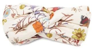 Gucci Floral Print Silk Twill Headband - Womens - White