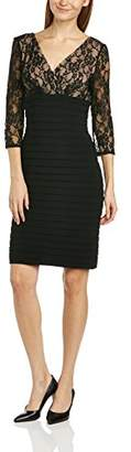Adrianna Papell Women Lace Band Pleated 3/4 Sleeve Dress