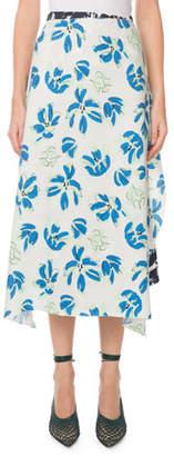 Roland Mouret Beymar Mixed-Floral Faux-Wrap Midi Skirt