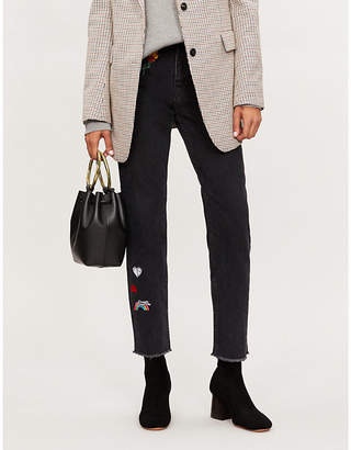 Maje Straight patch-embroidered stretch-denim jeans