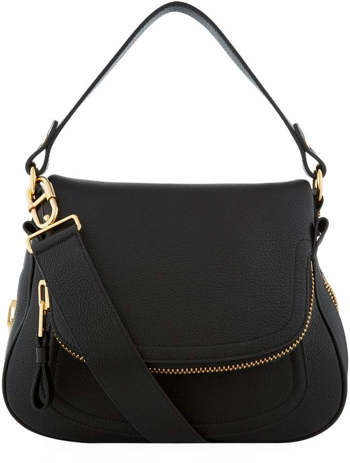 TOM FORD Medium Jennifer Leather Shoulder Bag, Black, One Size