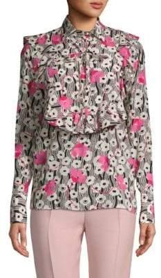 Valentino Floral Ruffled Silk Blouse