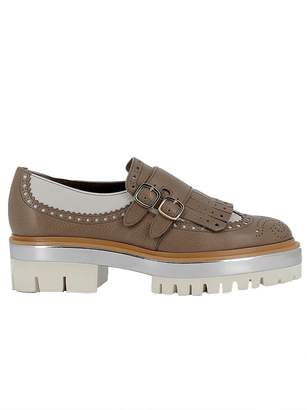 Santoni Grey/white Leather Loafers