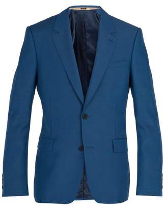 Alexander McQueen Single Breasted Wool Blend Blazer - Mens - Light Blue