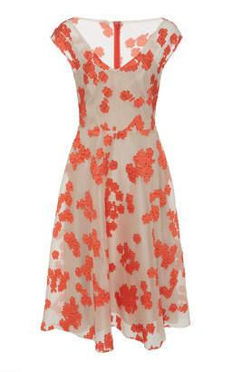 Lela Rose Open Neck Full Skirt Silk Dress