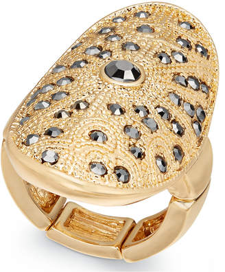 Thalia Sodi Gold-Tone Hematite Stone Stretch Ring, Created for Macy's