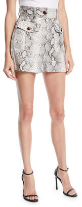 Zimmermann Corsage Safari Snake-Print High-Waist Linen Shorts