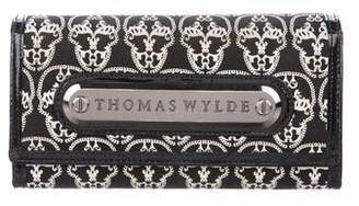 Thomas Wylde Patent Leather-Trimmed Skull Wallet