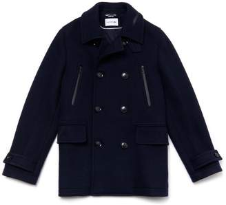 Lacoste Men's Mid-Length Wool Jersey Pea Coat