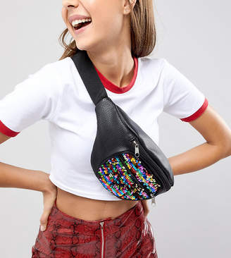 Reclaimed Vintage inspired sequin fanny pack