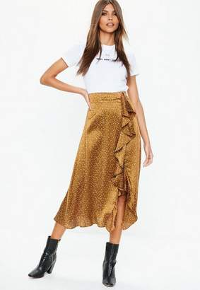 Missguided Polka Dot Satin Midi Skirt