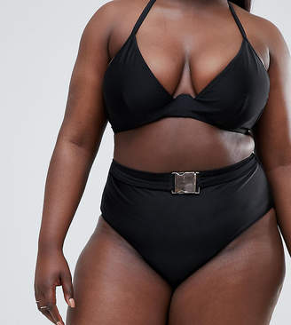 Wolf & Whistle Curve High Waist Bikini Bottom With Belt In Black