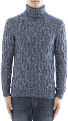 Gran Sasso Blue Silk Turtleneck