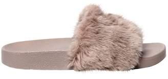 Windsor Smith 20mm Ivy Logo Faux Fur Slide Sandals