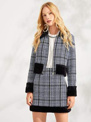 Shein Zip Front Faux Fur Plaid Coat & Skirt Set