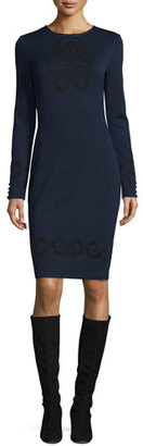 St. John Collection Flocked Milano Knit Long-Sleeve Dress, Navy $995 thestylecure.com