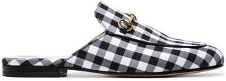 Gucci Black Gingham Princetown Mules