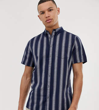Burton Menswear Big & Tall oxford shirt in navy stripe