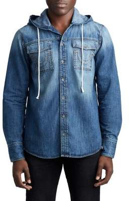 True Religion MENS BUTTON UP DENIM SHIRT W/ HOOD