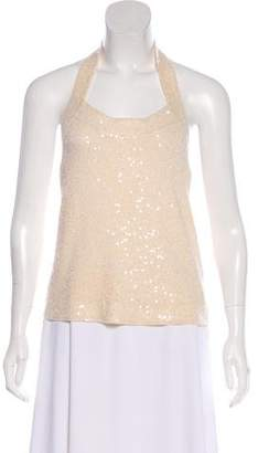Donna Karan Sequin Embellished Halter Top