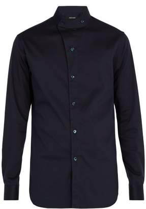 Giorgio Armani - Stand Collar Cotton Blend Shirt - Mens - Blue Multi