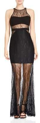 Halston Sleeveless Semi-Sheer Lace Gown