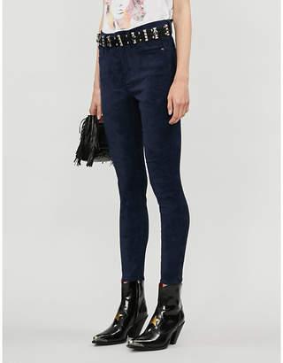 Good American Good Legs suede skinny high-rise jeans