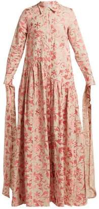 Osman Evaline Embroidered Linen Dress - Womens - Pink Multi
