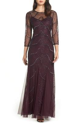 Adrianna Papell Deco Bead Embellished Gown
