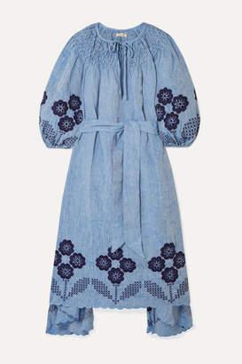 Innika Choo Hugh Jesmok Embroidered Broderie Anglaise Linen-chambray Midi Dress - Blue
