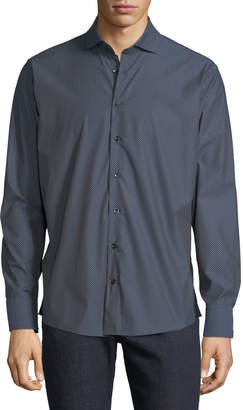 Neiman Marcus Men's Diamond-Print Woven Sport Shirt