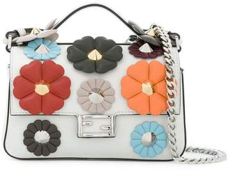 Fendi Embellished leather micro Double Baguette shoulder bag