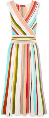 Missoni Wrap-effect Striped Cotton Midi Dress - Pink