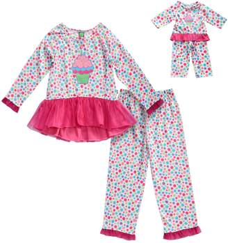 Dollie & Me Girls 4-14 Cupcake & Polka Dots Peplum Top & Bottoms Pajama Set & Doll Pajama Set