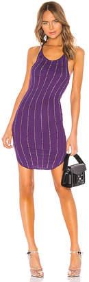 Frankie B. Shea Pinstripe Crystals Tank Mini Dress