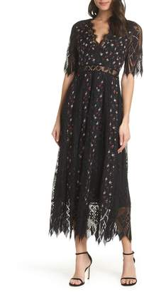 Foxiedox Josefine Lace & Clip Dot Tea Length Dress