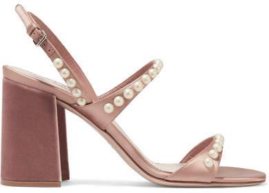 Miu Miu - Faux Pearl-embellished Satin And Velvet Sandals - Blush