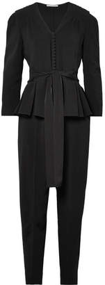 Stella McCartney Stretch-cady Peplum Jumpsuit - Black