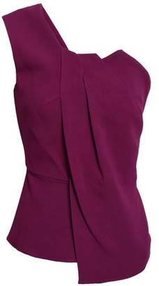 Roland Mouret Alcester One-shoulder Pleated Cady Peplum Top
