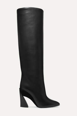 Salvatore Ferragamo Antea Suede-trimmed Textured-leather Knee Boots - Black