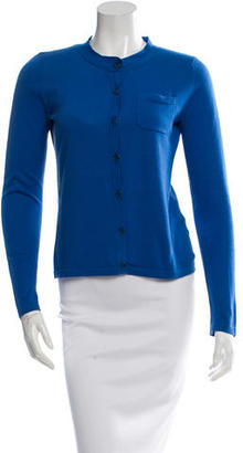 Vera Wang Blue Crew Neck Cardigan $85 thestylecure.com